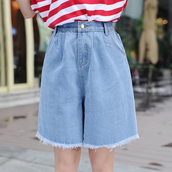 Cintura alta Denim Shorts Tamanho 3xl Feminino Jeans Curto Para As Mulheres Meia Longa de Verão Senhoras Shorts Quentes Sólidos Borla Denim Shorts J190425