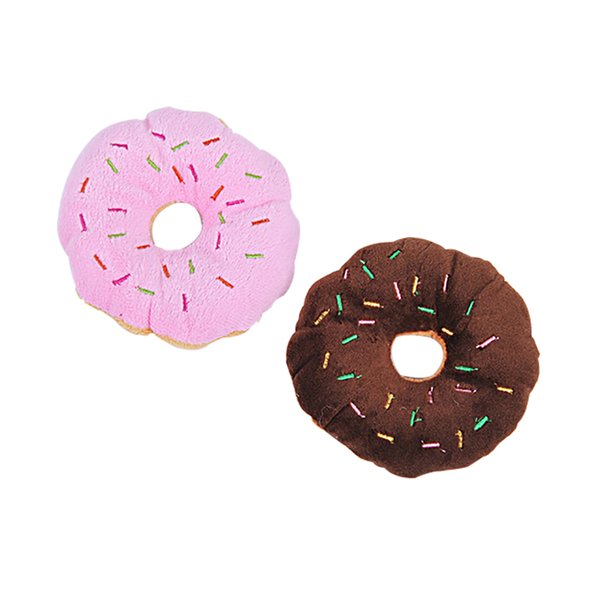top popular Sightly Pet Chew Cotton Donut 12cm Play Toys Lovely Pet Dog Puppy Cat Tugging Chew Squeaker Quack Sound Toy Chew Donut Play Toys 2021