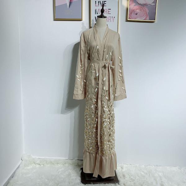 Sequin Kimono Muslim Dubai Kaftan Dress Qatar UAE Abaya Caftan Abayas for Women Islam Turkish Islamic Clothing Robe Arabe Femme
