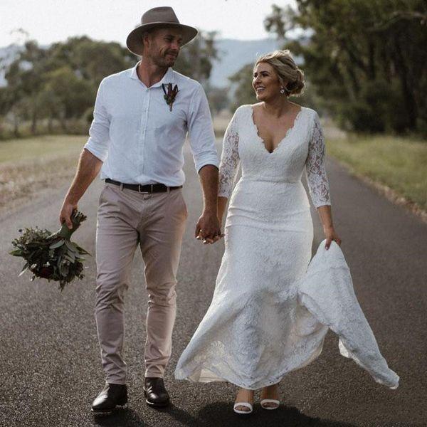 Plus size vestidos de noiva de renda 3/4 de mangas compridas com decote em v país vestidos de noiva casamento trem da varredura bainha vestido barato