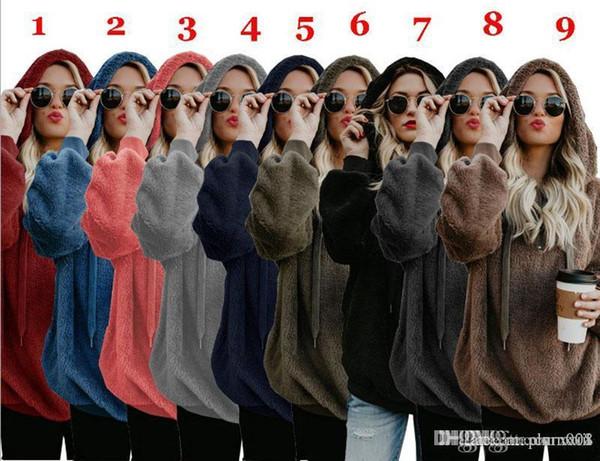 Hot Sale Women Hoodies Zipper Girl Winter Loose Fluffy Bear Ear Hoodie Hooded Jacket Warm Outerwear Coat Cute Sweatshirt Hoody S-5XL