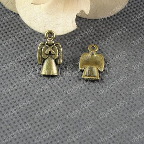 100pcs 19*10MM Antique bronze tibetan angel God fairy charms vintage metal pendants diy necklace bracelet earring jewelry making material