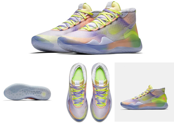 2019 new top quality kd 12 basketball shoes Camouflage Silver Floral Black Red Gold air flights foams one running sneakers for sale