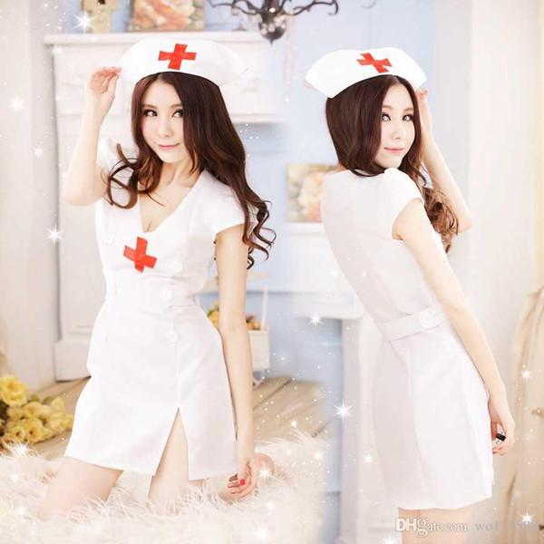 Freies Verschiffen neues reizvolles Wäsche cosplay Halloween-Nachtklub-Kostüm-Stadiums-Kleid Cosplay Geist-Krankenschwester-einheitliches Leistungs-Spiel-Spiel-Set