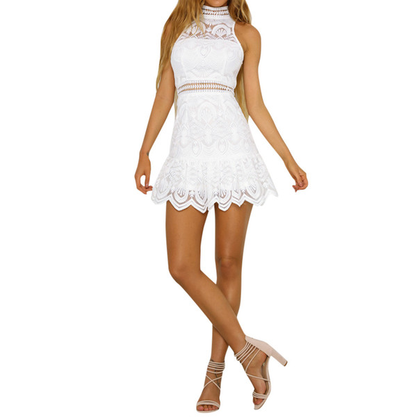 Women Sexy Backless Mini Dress Summer Lace Stitching Hollow Evening Party Dress White Elegent Halter Sundress Vestidos #15T