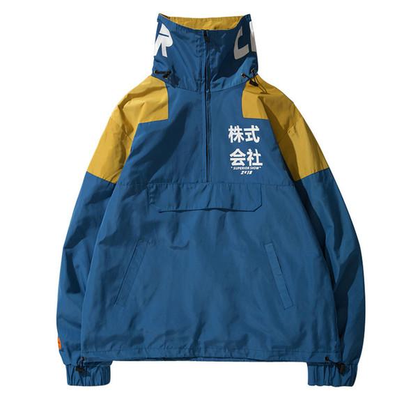 Tasche posteriori Half Zipper Pullover Giacca a vento Giacche Uomo 2018 Autunno Hip Hop Harajuku Cappotti Streetwear Uomo