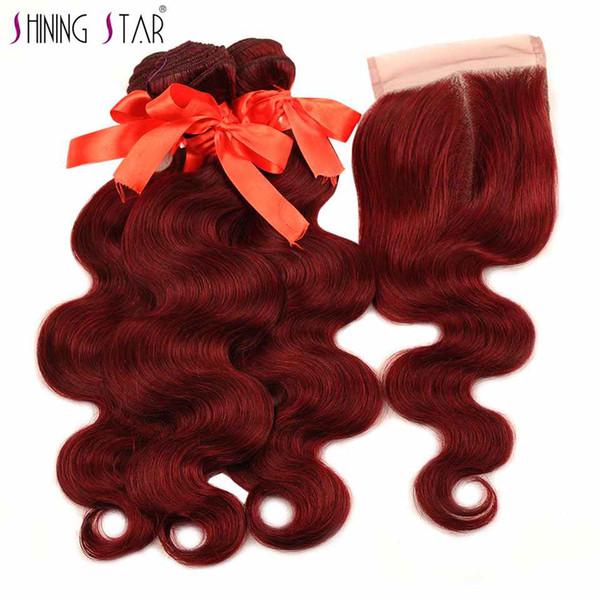 Shiningstar 99J Hair Red Bundles mit Verschluss Burgund Brasilianische Körperwelle Menschenhaar-Webart Bundles mit Verschluss auf Dhgate Jungfrau-Haar