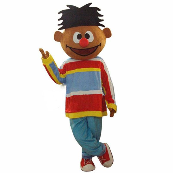 Sunshine Orange Boy Lad Ernie Sesame Street Mascot Costume With Red Conglobate Big Nose Blue Trouser Adult Size Free Shipping