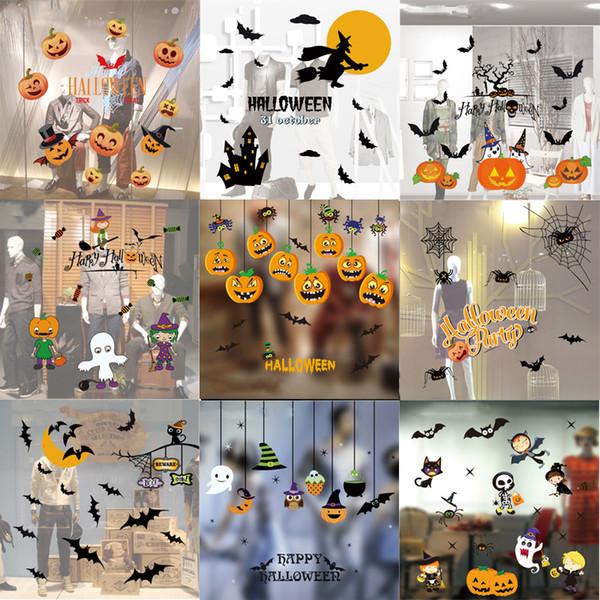 Acheter Dessin Animé Fenêtre Autocollant Halloween Thème Créatif Chauve Souris Citrouille Fantôme électrostatique En Verre Autocollants Amovible