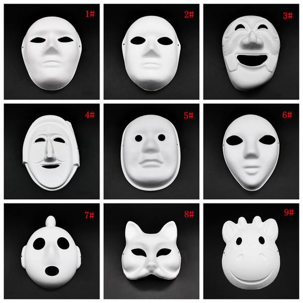 Cadılar Bayramı Tam Yüz Maskeleri DIY El-Boyalı Pulp Alçı Kapalı Kağıt Hamuru Boş Maske Beyaz Maskeli Maskeler Düz Parti DBC VT1088 Maske