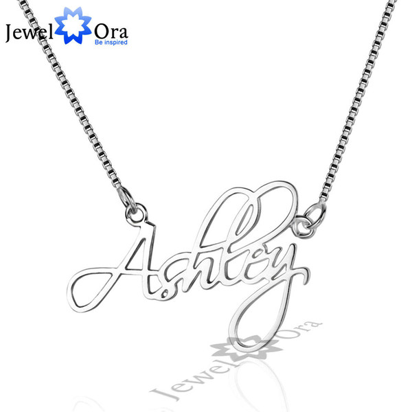 Personalized 925 Sterling Silver Name Necklace With Box Chain Christmas Gift Custom Nameplate Pendant (JewelOra NE101643)