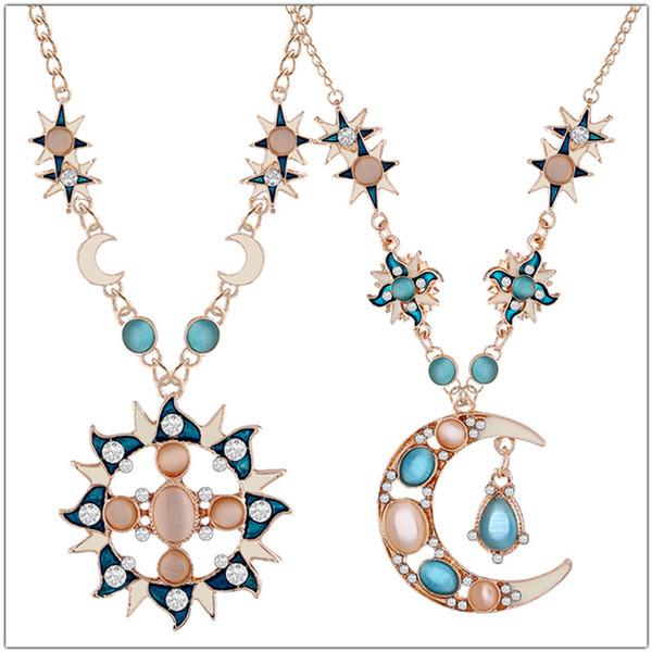 Artificial Crystal Gem Opal Sun Pendant Necklaces Colorful Opal Cat Eye Sun Moon Pendant Necklace Bohemia Women Big Pendant Sweater Chain