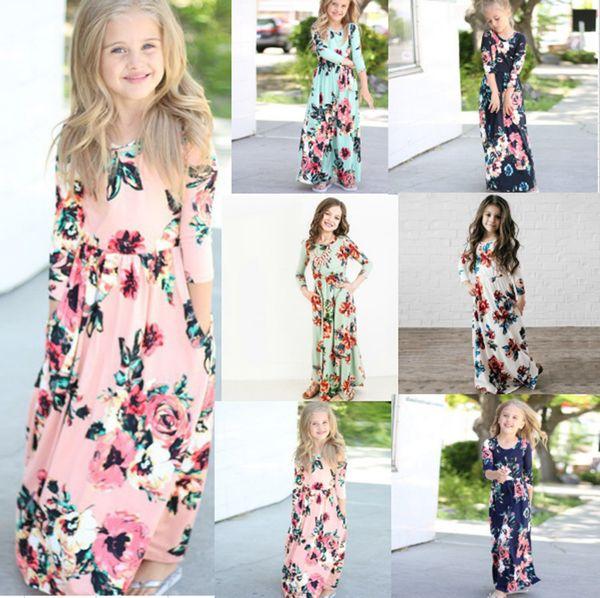 2019 Ins Baby Girls Princess Long Dress Spring Autumn Bohemian Dress for Girls Beach Tunic Floral Maxi Dresses Kids Party Dresses Gifts B382