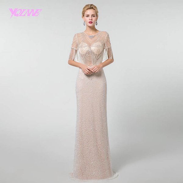 wholesale Sexy Long Prom Dresses 2019 Rhinestones Beadings Sleeves Formal Gown Dress See Through
