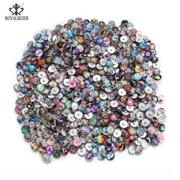 DIY의 스냅 쥬얼리 무작위 납품 Kzhm151 MX190718를 들어 Royalbeier 100PCS 많은 혼합 된 아름다운 패턴의 매력에 18mm 유리 스냅 버튼