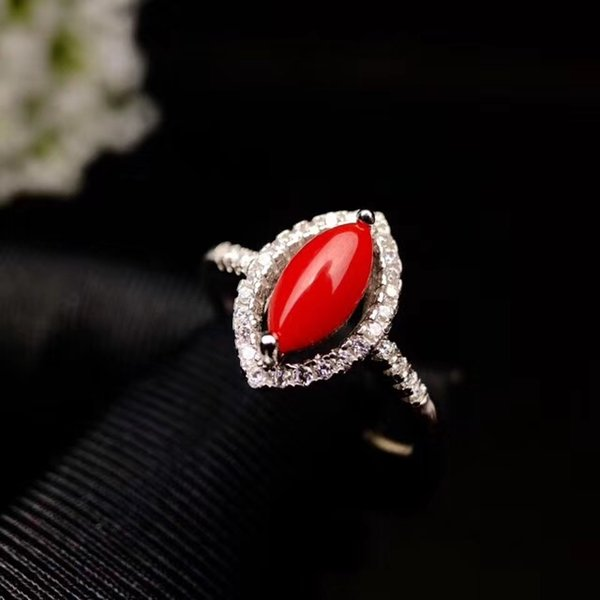 Beautiful Horseeye-shaped Natural Red Coral Ring With Zircon Inlaid Around 925 Sterling Silver White Gold And Rose Gold Color Optional