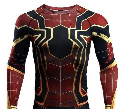 camisas impressas Raglan da luva Spiderman 3D T Homens compressão camisas de manga longa Crossfit cobre T academias de fitness T-shirt Rashguard