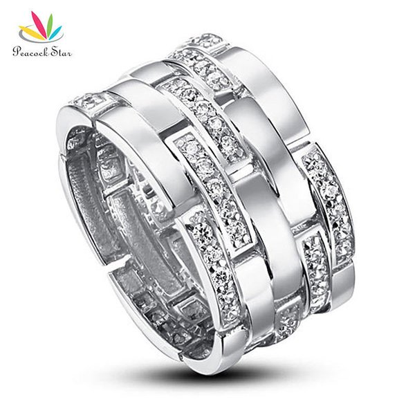 Peacock Star Wedding Band Anniversary Sterling Solid 925 Silver Ring Jewelry Cfr8005 Y19062004