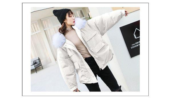 cotton padded women's new chic winter korean cotton padded jacket bread jacket short large wool collar cotton padded jacket loose bf coat