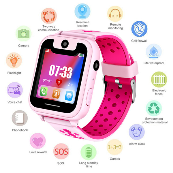 2019New Children's Smart Watch SOS Mobile phone Call lighting Watch LED Color Touch Screen Positioning Remote Monitor Baby