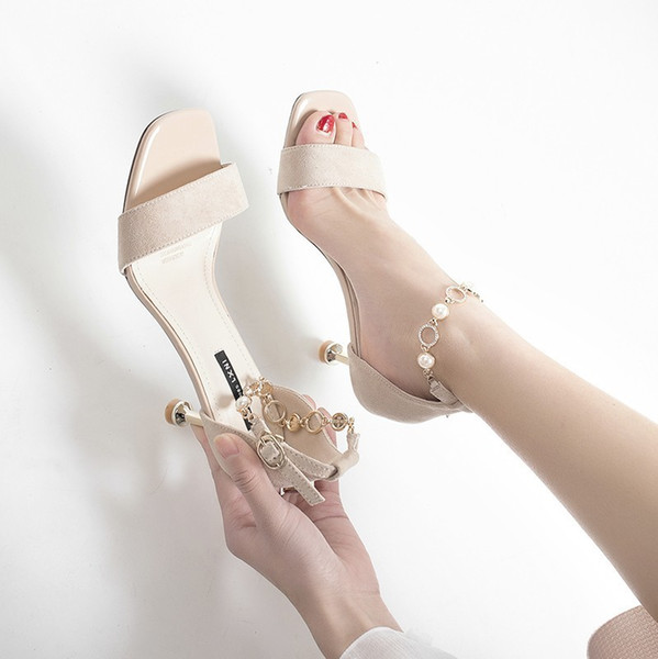 Magical2019 Fine High-heeled Ma'am Sandals Toe One Buckle Bring Cat With Joker Women's Shoes Tide