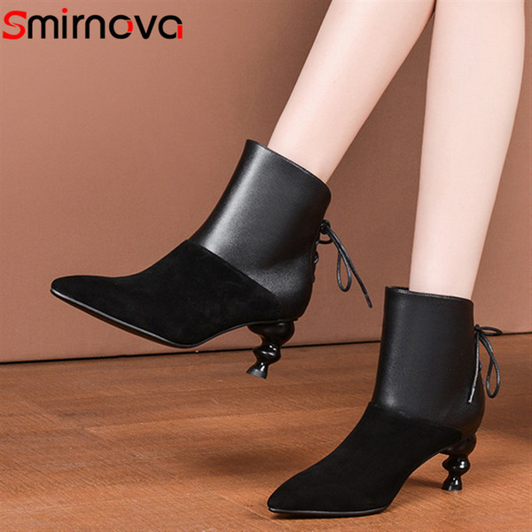 Smirnova 2020 winter autumn ankle boots for sexy lady high heels boots pointed toe dress shoes female genuine leather