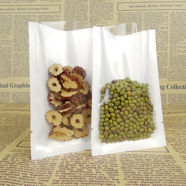 16*24cm Hot Sale Open Top Retail Poly White and Clear Vacuum Pouch For Coffee Bean Storage Heat Sealing Package Packing Bags