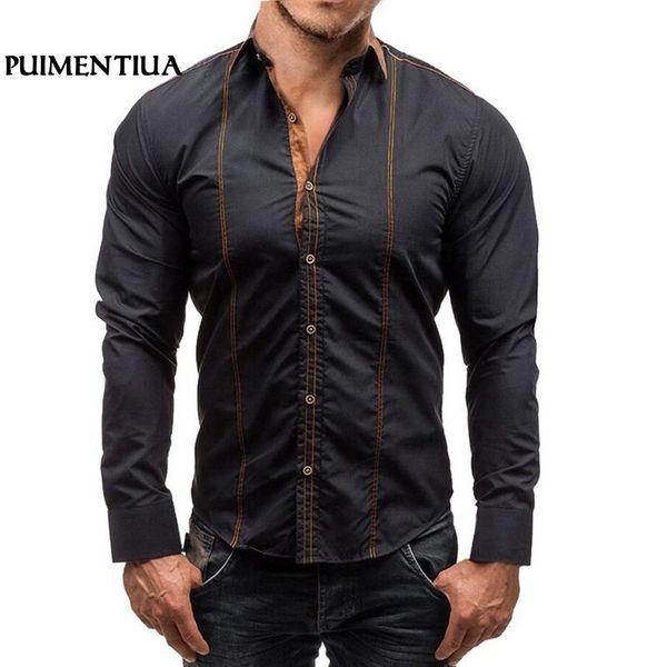 Puimentiua Men Solid Long Sleeve Shirts Fashion Turn-down Collar Casual Slim Cotton Shirts For Men Slim Fit camisa masculina