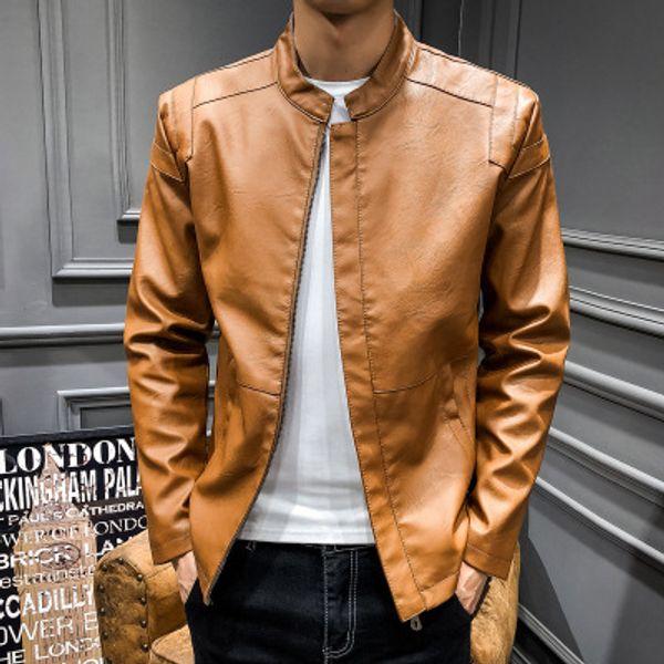Ins Top Quality Brand winter Zipper Designer black Baseball men's motorcycle pu leather jacket fleece solid color flight jacket coat M-4XL