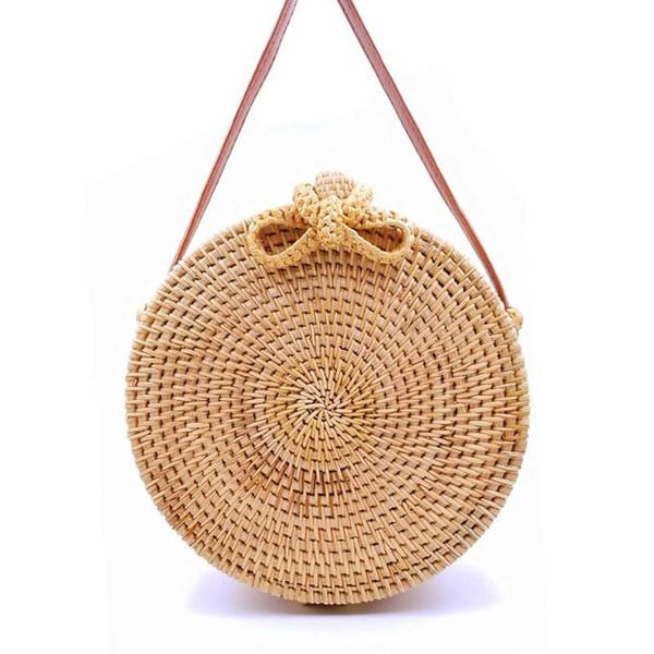 2019 Round Straw Bags Women Summer Rattan Bag Handmade Woven Beach Cross Body Bag Circle Bohemia Handbag Bali LB971
