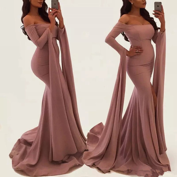 2019 Dusty Rose pink Off The Shoulder Mermaid Prom Dresses Long Sleeves Ribbons Elegant Scoop arabic turmpet formal celebrity Evening Gowns