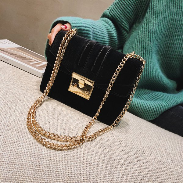 Womens Small Bag Messenger Bag Casual Fashion Wide Shoulder Strap Chain Handbag