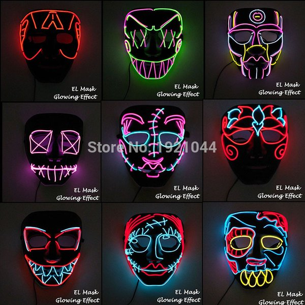 New Design El Wire Mask Led Luminous Mask Rave Costume Props Flashing Cosplay Mask For Halloween Carnival Party Decoration