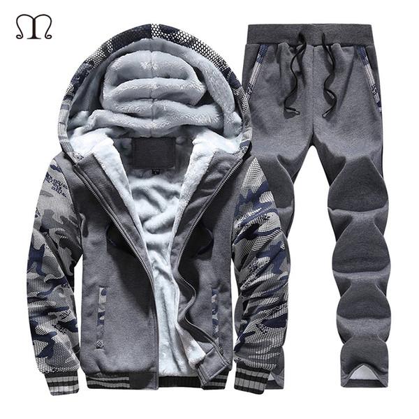 Men's Sportswear Winter Thick Fashion Brand Tops+Pants Sets Casual Slim Fit Fleece Tracksuits hoodies&Sweatshirts Sportsuit Men