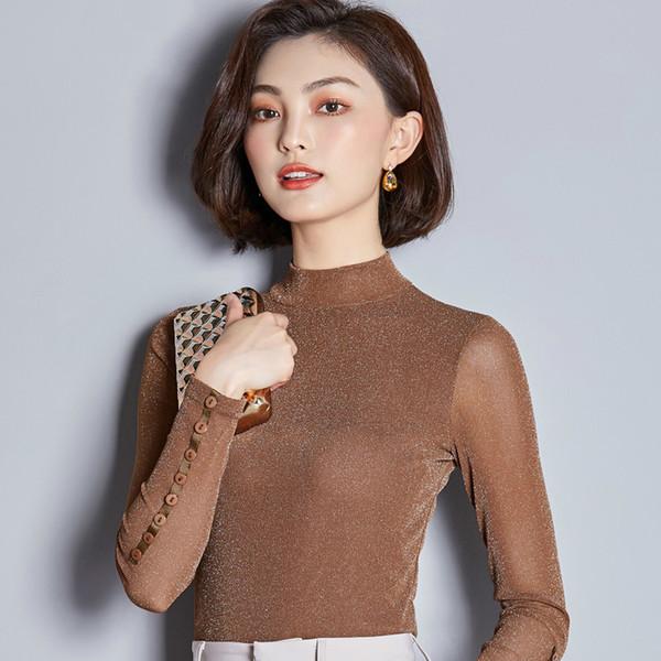 Mulheres Blusa Sexy Elasticidade Primavera Outono Tops de Malha de Manga Comprida Cor Sólida Camisas Femininas Para A Mulher de Trabalho Camisa Ocasional