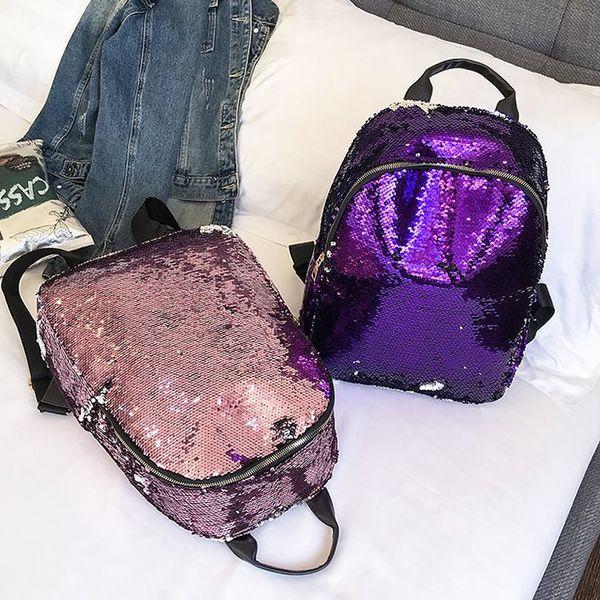 Fashion Women Glitter Sequins Backpack Teenage Girls Schoolbag Outdoor Female Travel Laptop Bag Lady Cosmetic Tool Backpack LJJT476
