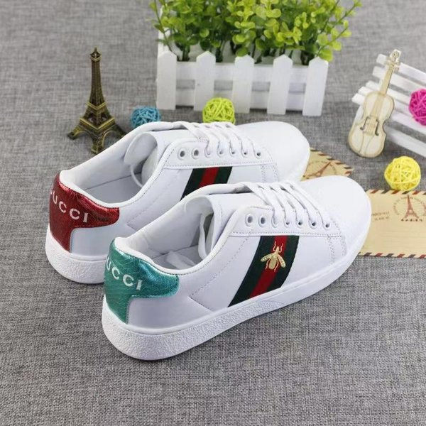 best selling NEW Men Women Casual Shoes Luxury Sneakers Shoes Top Quality Genuine Leather Bee Dog Tiger Snake Embroidered EUR 35-44