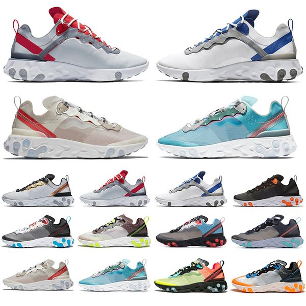 New Arrival React Element 87 55 Running Shoes For Men Women Sail SE Taped Seams Royal Tint Anthracite Total Orange Green Mist Sneakers