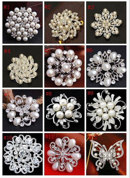 2019 new Fashion Wedding Brooches Mix 24 Style Silver Pearl Crystal Rhinestone Flower Bouquet Butterfly Vintage Brooch Pins Best Gift