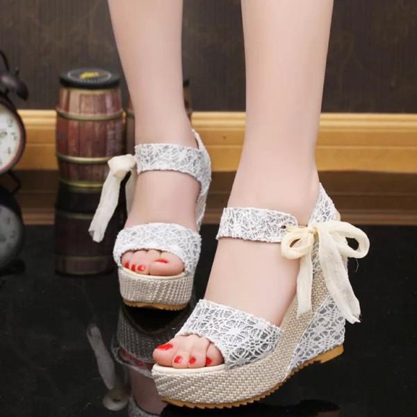 Yaz Roman Wedge Sandals Kadın Muffin Alt Ayakkabı Şerit Dantel-up Bow 11cm Düğün Ayakkabı 6 Renkler Boyut 35-40