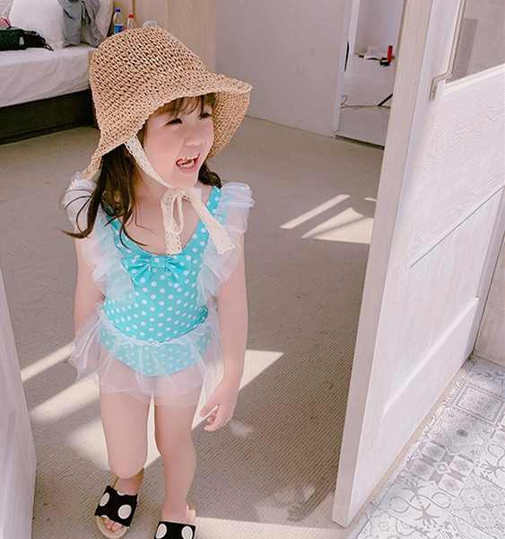 2019 Ragazze Dots Princess costume da bagno Tulle Polka Dots Tutu Bambini One Piece costumi da bagno Estate Moda Bambini spa beach costume da bagno Y2376
