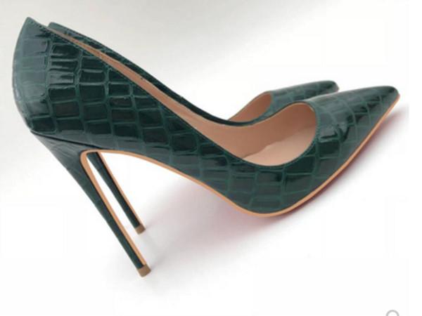 19 Novo tipo verde escuro padrão de crocodilo Sapatos de salto alto Cúspula Sapatos de salto fino das mulheres Único 8cm 10cm 12cm trabalho fundo vermelho tamanho grande 44