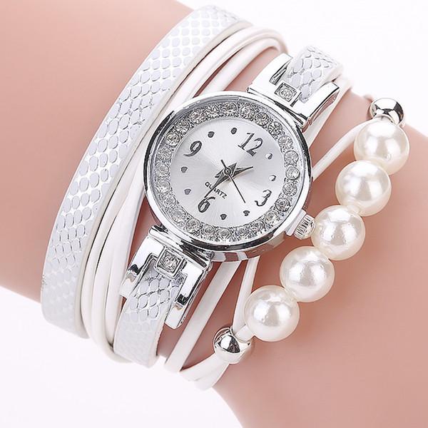 Bayan Saat Women Watch Fashion Casual Analog Quartz Wing Rhinestone Pearl Bracelet Watch Alloy Round Glass Leather Band Relojes