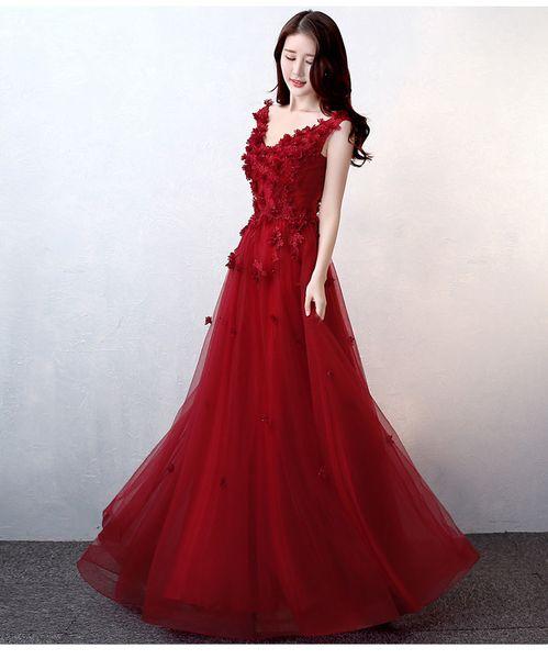2018 pas cher dentelle A-ligne robes de soirée col en V fait main fleurs robes de bal Sexy dentelle Up demoiselle d'honneur formelle robes de soirée