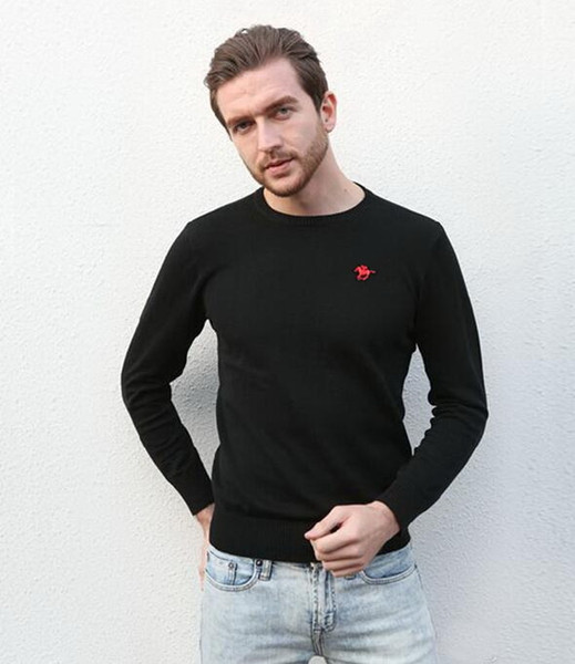2019 new high quality men polo sweaters Brand pullover sweater Slim Jumpers jerseys O-Neck pull size S-XXL with original package