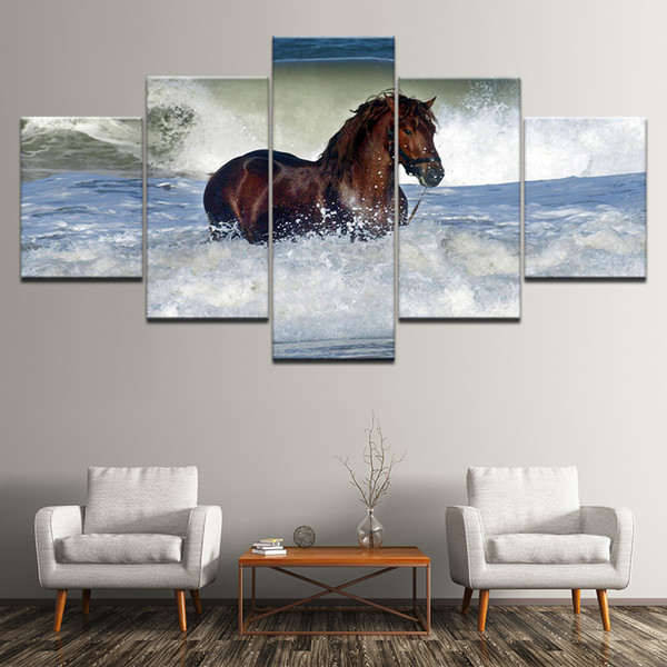 Modern Poster HD 5 Pieces Horse Animal Canvas Painting Printing Wall Pictures Modular Artwork Vintage Home Living Room Decoration