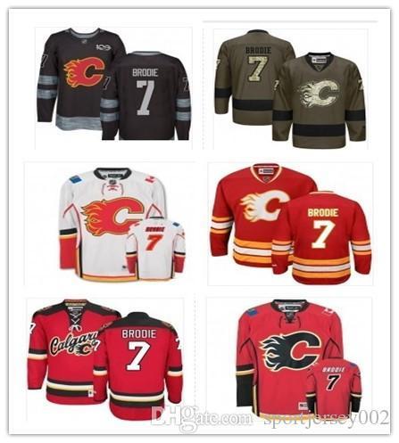 Calgary 2019 Hockey Jerseys Flames hombres / mujeres / jóvenes mejor 7 TJ Brodie Jersey nombre personalizado y número de barco de envío gratis