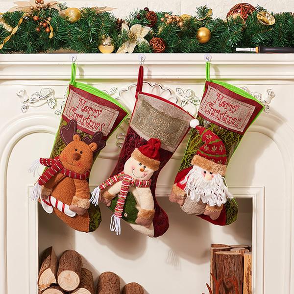 Classic Stockings Bags Santa Claus Socks Decorations 25*37cm Christmas Eve Gifts For Child Xmas Family Party adornos de navidad
