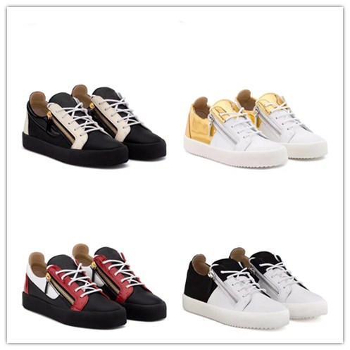 Nuevo 2019 para hombre, cuero negro con remiendo de lona, zapatillas de deporte con cremallera doble superior, zapatos casuales de marca 35-46 envío por gota mm189604