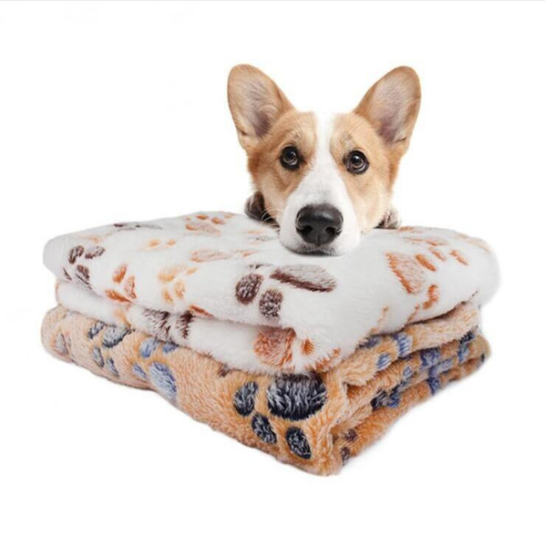top popular Dogs Blanket Soft Dog Bed with Cute Dog Paw Prints Reversible Fleece Crate Pet Bed Mat Machine Washable Pet Bed Liner 76*52cm LXL1046A 2020